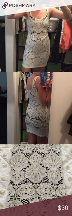 Free People lace body con dress Stretchy body con dress from Free People. Worn twice and gently cares for.  Black underneath and ivory lace as top layer. Free People Dresses Mini