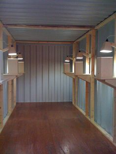 Installation inside a shipping container.