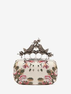 Shop Women's Floral Embroidery Bird Knuckle Clutch from the official online store of iconic fashion designer Alexander McQueen.