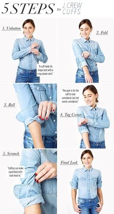 If you've been cuffing and un-cuffing your sleeves in vain, trying to achieve that Jenna Lyons signature undone look, then read this tutorial. Look Fashion, Autumn Fashion, Womens Fashion, Fashion Tips, Fashion Hacks, Short Girl Fashion, Fashion Trends, Petite Fashion, 80s Fashion