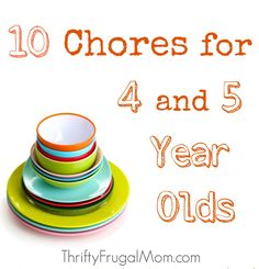 Want to help your child learn responsibility? Here are 10 chores that your 4 or 5 yr. old should easily be able to do by themselves. Includes helpful tips!