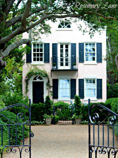 Southern Abode-Beautiful Houses: the top architecture pins of February 2014 beautiful house in Charleston, captured so perfectly by 21 Rosemary Lane. French Door Windows, Windows And Doors, French Doors, Exterior Paint, Exterior Design, Interior And Exterior, Exterior Shutters, Pink Houses, Southern Homes