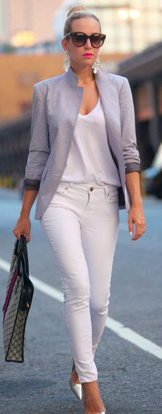 White & Grey Glam- YOU can rock this look.  Neutral Tee and jeans, blazer, chandelier earrings, bun, big shades and bold lip color.  Try it Glamour girl!