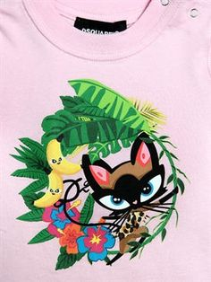 dsquared2 - 여아 - 티셔츠&탑 - 캣 프린트 코튼 저지 티셔츠