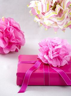 cute tissue paper flowers for gift wrap or hanging