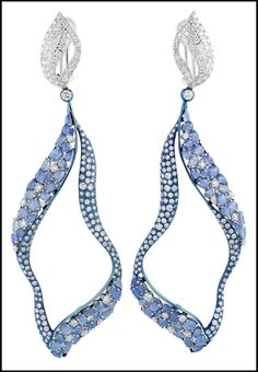 Miiori blue sapphire (just over 14cts) and diamond (11.69cts tw) earrings set in titanium and 18k white gold.
