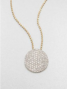 Phillips House 14K Yellow Gold & Diamond Infinity Necklace - From the Affair Collection. The famed Infinity necklace, an edgeless pave diamond disc with unmatched sparkle and versatility for the chic, sophisticated woman.