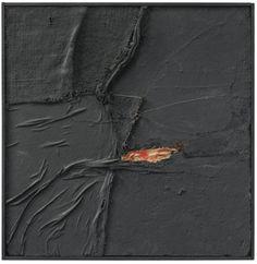Alberto Burri (1915-1995) - Spider, 1954 Oil, burlap, glue and collage on board (38 x 38 cm)