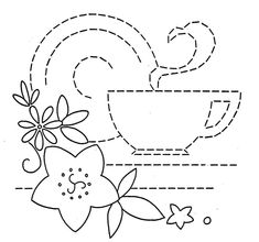 vintage embroidery pattern -- coffee cup: for a mug rug?