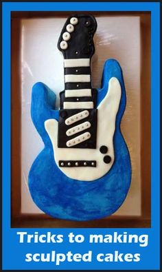 Tips for making sculpted cakes. Someone JUST asked me to make a guitar cake. I think the internet might be trying to tell me to take the job. Cake Decorating Techniques, Cake Decorating Tutorials, Cookie Decorating, Decorating Ideas, Cupcakes, Cupcake Cookies, 13 Desserts, Guitar Cake, Sculpted Cakes
