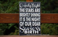 Oh O Holy Night Christmas Christian Sign by WordsForTheSoul, $50.00
