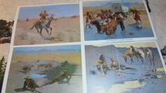 Vintage Lithographs of The Old West, By: Frederic Remington's, Set of Four, Vintage 1970's by BellaBooandNeNeSue on Etsy