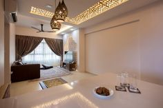 Fatema design studio on qanvast. Nice lattice ceiling pattern, arabian nights hanging lights and moroccan feature wall
