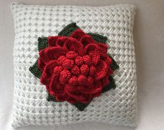 """Crochet pillow, flower pillow, decorative crochet pillow, throw pillow, Christmas cushion,crochet flower, 18""""  pillow, insert included"""