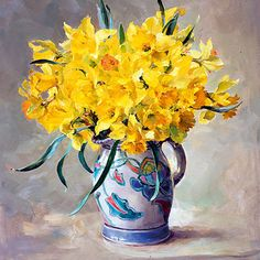 Daffodils in Honiton Pottery - blank card by Anne Cotterill Art Floral, Watercolor Illustration, Watercolor Art, Jig Saw, Flower Artists, Art Calendar, Art Folder, Good Morning Flowers, Pictures To Paint