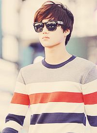 Stripes and sunglasses. Kai of EXO-K.