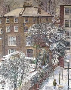 Exhibited at New English Art Club Annual Exhibition Snow in Islington, March 2018 measures 102 x 81 cm and is available for London View, London Art, Garden Illustration, Illustration Styles, Between Two Worlds, Painting Snow, Winter Art, Naive Art, Art Club