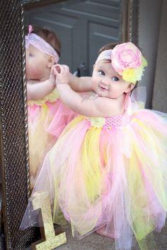 Gorgeous Beautiful Pink Lemonade Tutu Strawberry Lemonade Baby Girl Tutu Dress for 1st Birthday 6-12 months old