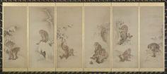 Attributed to Mori Sosen. Monkeys , one of a pair of folding screens.   猿図押絵貼屏風 Japanese Edo period 19th century.