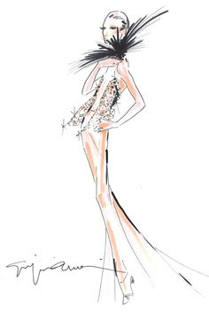 A sketch of Armani Privé, to be presented in Paris