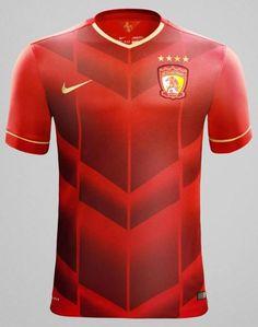 IN ÁO BÓNG ĐÁ: Mẫu áo bóng đá GZ Evergrande (Sân nhà) của NIKE  2...
