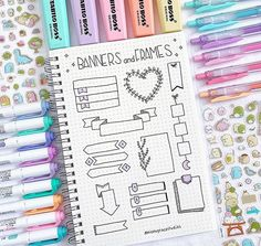 Comment your favorite doodle spread These are all created by nicolegracestudies she s a kind-hearted and talented person guys Tag Bullet Journal School, Bullet Journal Inspo, Bullet Journal Titles, Bullet Journal Banner, Journal Fonts, Bullet Journal Notebook, Bullet Journal Aesthetic, Journal Layout, Lettering Tutorial