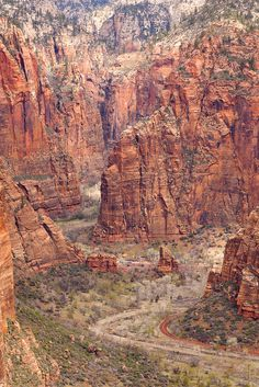 Temple of Sinawava from Angels Landing, Zion National Park,Utah