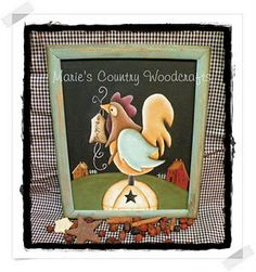 Prim Painted Rooster Frame  $22.95 USD.