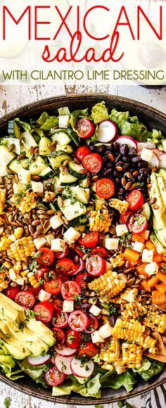 Mexican Salad Dressings, Mexican Salad Recipes, Mexican Salads, Healthy Salad Recipes, Mexican Potluck, Summer Vegetarian Recipes, Cilantro Recipes, Vegetarian Mexican, Vegetarian Salad Recipes