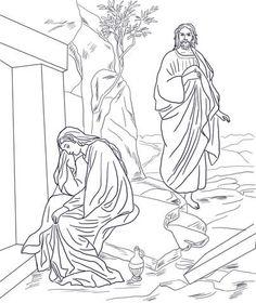 Jezus verschijnt aan Maria Magdalena na de verrijzenis kleurplaat
