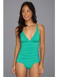 0f5ceb2211325 Tommy bahama pearl solids ots v neck one piece parakeet green at 6pm.com