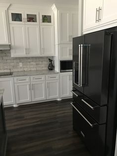 Black Stainless Kitchenaid Appliances White Cabinets Craftsman
