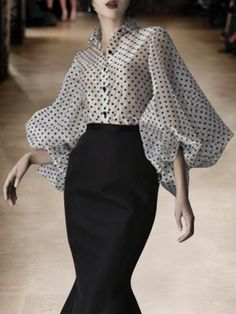 Shop White Lapel Polka Dot Print Puff Sleeve Chic Women Sheer Shirt from choies…. – 2020 Fashions Womens and Man's Trends 2020 Jewelry trends Look Fashion, Fashion Design, Fashion Trends, Daily Fashion, Fashion Fashion, High Fashion, Fashion Jewelry, Outfit Online, Latest Fashion For Women