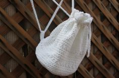 Drawstring White Backpack Pouch by KovedaCrochet on Etsy