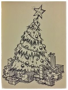 ‪26 #christmas #ChristmasTree #star #presents #seasonsgreetings #happyholidays #ink #sketch #drawing #doodle #art #artist #mikephillipsart ‬