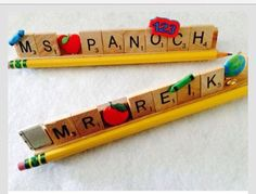 Teacher Gift Ideas Handmade nameplate featuring teacher's name and school related charms.