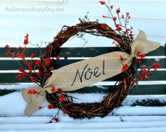 Burlap & Grapevine Noel Wreath :: AnExtraordinaryDay.net