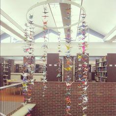 Paper crane mobile in the Alma College Library, Alma, MI
