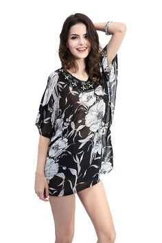 ZG DD Womens Casual Chiffon Loose Blouse Tops Dolman Sleeve Floral Dress ** This is an Amazon Affiliate link. Read more at the image link.