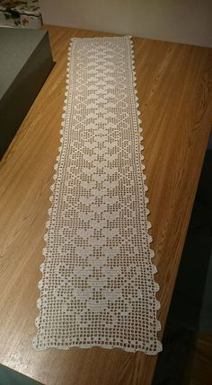 SALE Christmas table runner - crochet doily - crochet tablecloth - Christmas doily - red table decor - patterned table runner x in Filet Crochet, Crochet Diagram, Crochet Chart, Thread Crochet, Knit Crochet, Crochet Table Runner, Crochet Tablecloth, Crochet Doilies, Doily Patterns