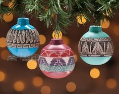 native american painted christmas ornaments 3 set o1