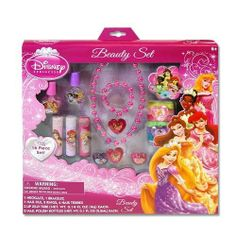 Disney Princess Beauty set by Disney. $19.90. Disney Princess 16 piece jewelry, makeup, hair accessories beauty set!  Includes: 1 necklace, bracelet, nail file, 2 rings, 6 hair terries, 3 lip gloss tubes, 2 nail polish bottles.  Recommended for ages 6 and up