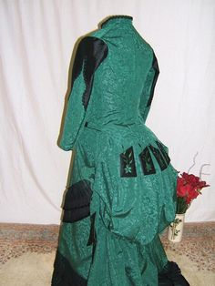 Victorian Dress in Green and Black/Victorian Tea Dress/SASS Victorian Reenactor Day Dress Victorian Gown, Historical Costume, Poison Ivy, Dress Form, Day Dresses, New Dress, Gowns, Green, Black