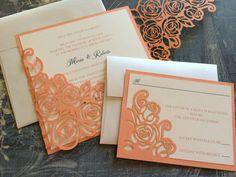 Laser Cut Wedding Invitations Peony Wedding by CelineDesigns