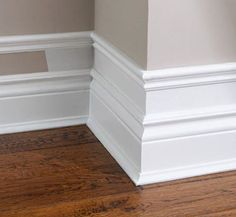 "For our next house. New baseboards. I fell in love these ""American"" style baseboards when living in the US. Home Renovation, Home Remodeling, Kitchen Remodeling, Bedroom Remodeling, Diy Casa, Moldings And Trim, Faux Crown Moldings, Window Molding Trim, Door Frame Molding"