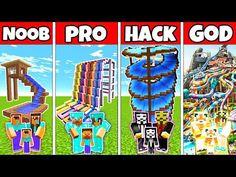 Minecraft: FAMILY WATERPARK BUILD CHALLENGE - NOOB vs PRO vs HACKER vs GOD in Minecraft Animations - YouTube