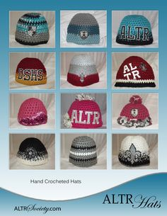 These hats are one-of-a-kind except for those with ALTR lettering or high school or college initials.  Available at www.altrsociety.com