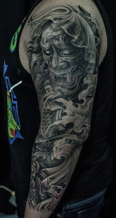 Chronic Ink Tattoo - Toronto Tattoo 3/4 sleeve hannya mask and koi fish tattoo done by Winson.