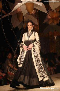 Black & White Lengha by Rohit Bal