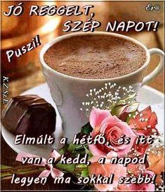 Good Morning, Latte, Tea Cups, Mugs, Tableware, Humor, Funny, Buen Dia, Dinnerware